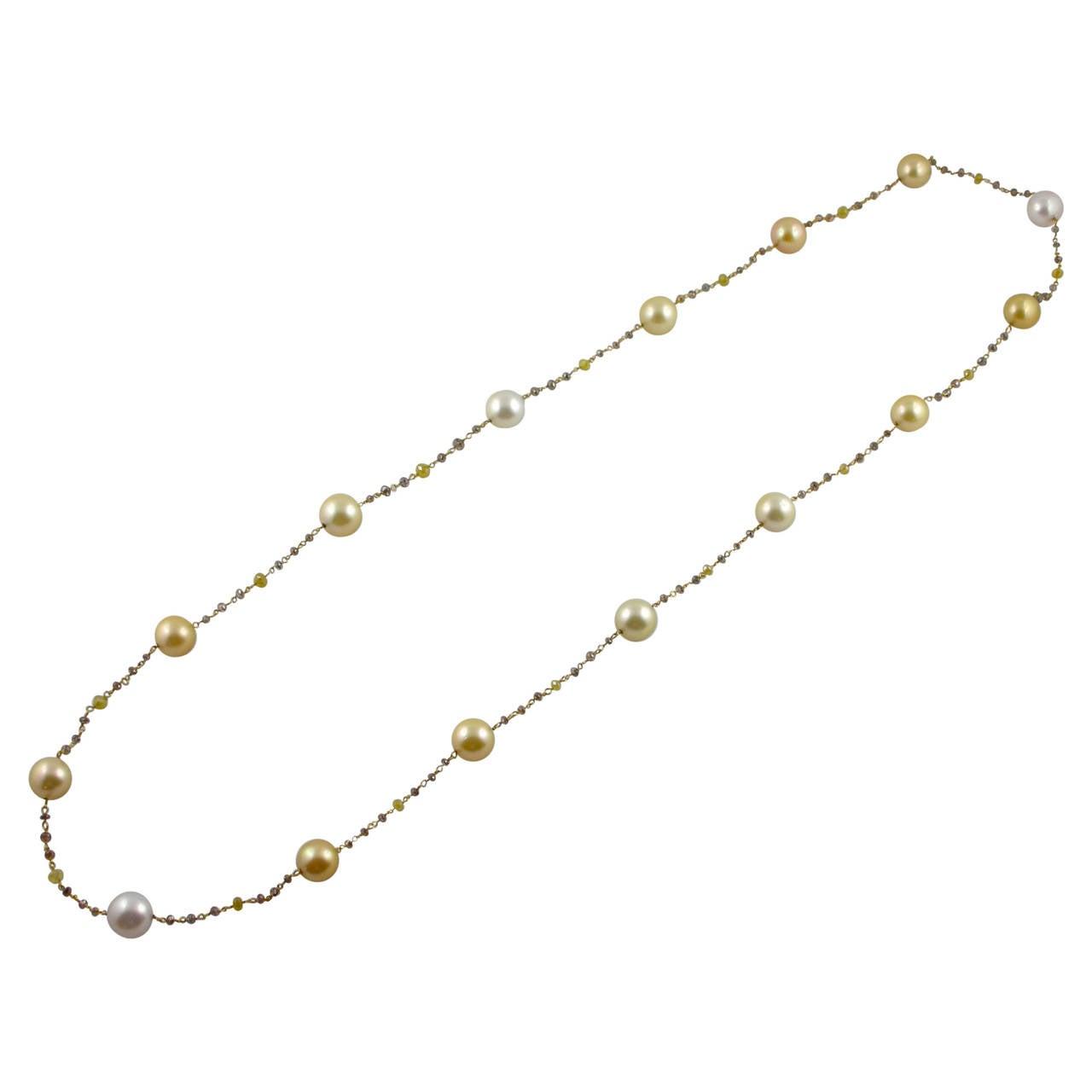Jona South Sea Pearl Briolette Cut Diamond Sautoir 18 Karat Yellow Gold Necklace For Sale