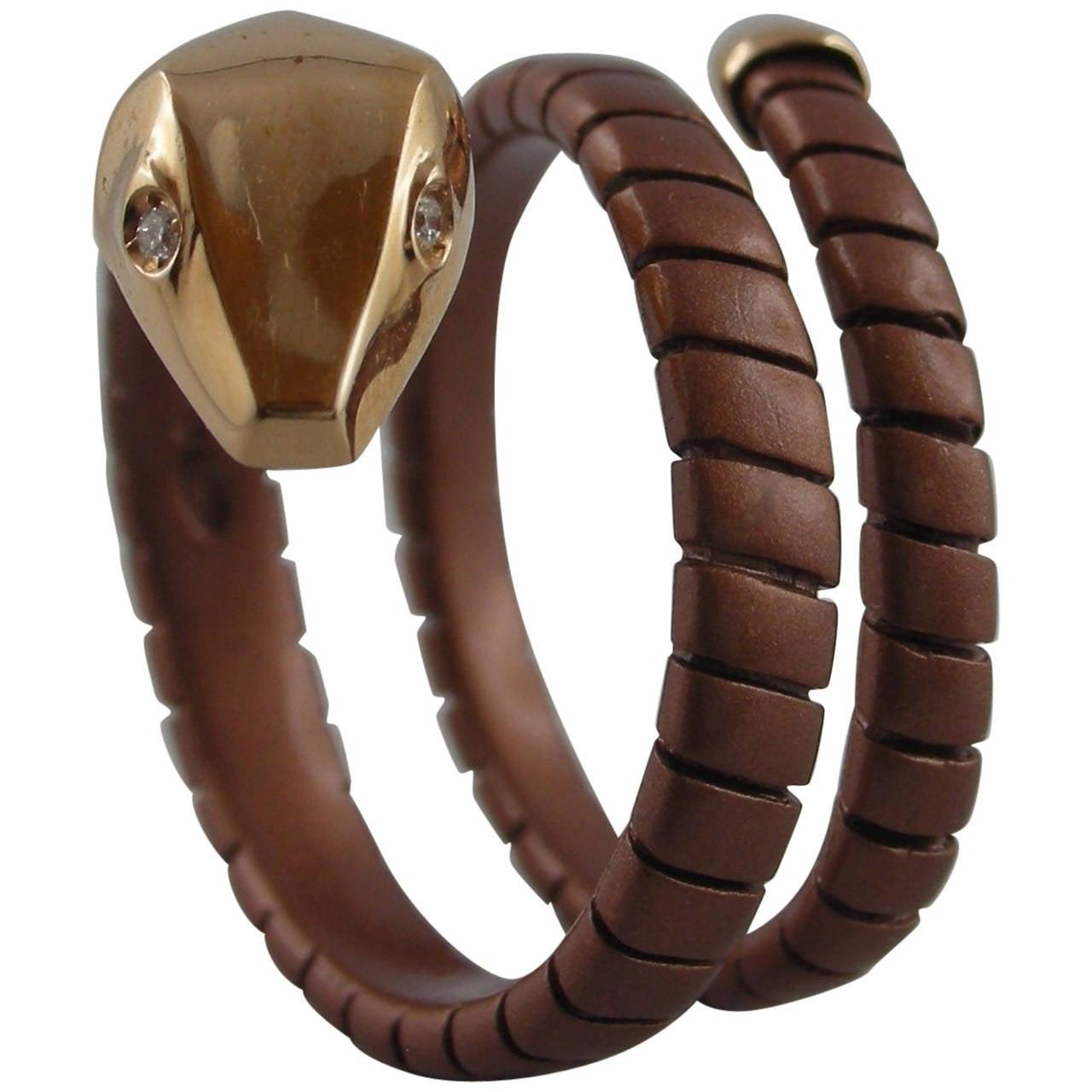 Jona Silver Gold Coil Snake Ring For Sale