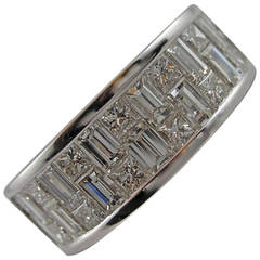 Jona Baguette and Square Cut Diamond Gold Band Ring