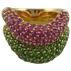 Jona Pink Sapphire Tsavorite 18 Karat Yellow Gold Set of Two Band Rings