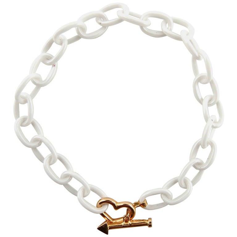 Jona High-Tech White Ceramic Gold Chain Bracelet For Sale