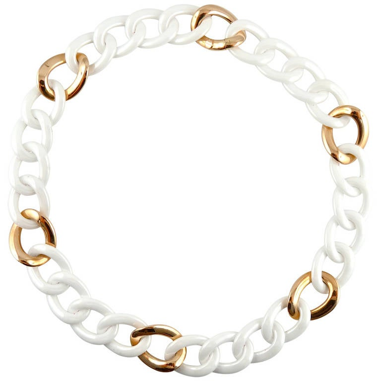 Jona High-Tech White Ceramic Gold Curb-Link Necklace