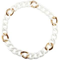 Jona High-Tech White Ceramic 18 Karat Rose Gold Curb-Link Necklace