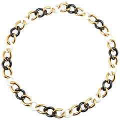 Jona High-Tech Ceramic Gold Curb-Link Necklace