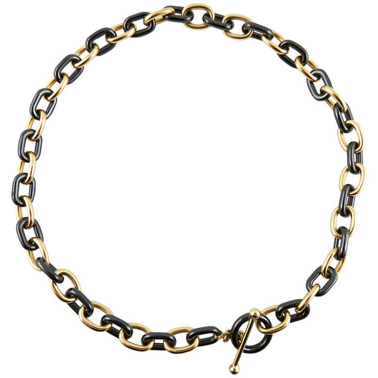 Jona High-Tech Black Ceramic Gold Chain Necklace
