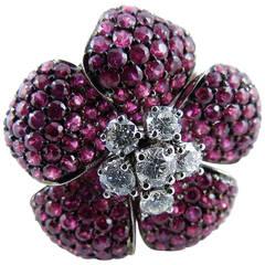 Ruby Diamond Gold Flower Ring
