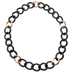 Black Agate Gold Curb Link Necklace