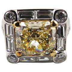 4.01 Carat GIA Cert Natural Fancy Intense Yellow Radiant Cut Diamond Ring
