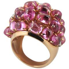 Jona Pink Sapphire 18 Karat Rose Gold Dome Ring