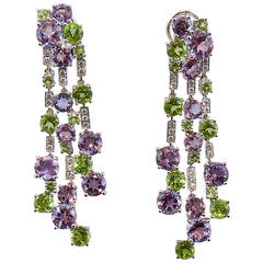 Jona Peridot Amethyst White Diamond 18 Karat White Gold Chandelier Clip Earrings