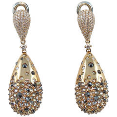Jona Black Brown and White Diamond 18K Yellow Gold Drop Earrings