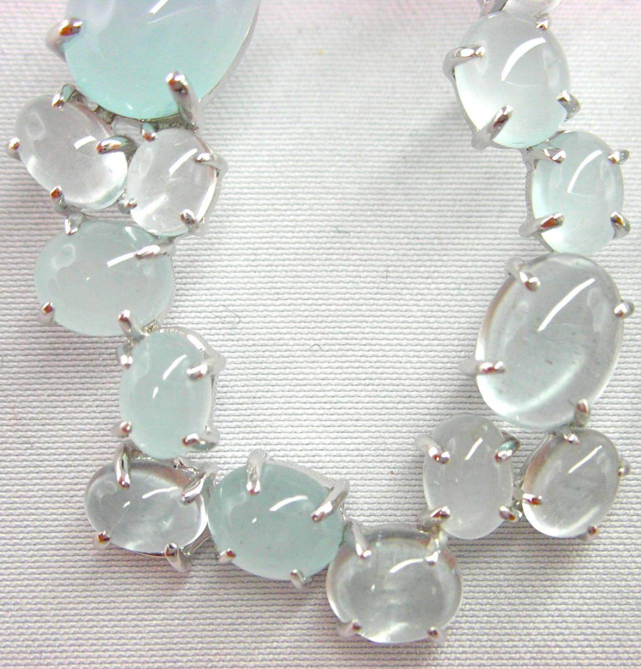 Cabochon Aquamarine Gold Oval Garland Drop Earrings 2