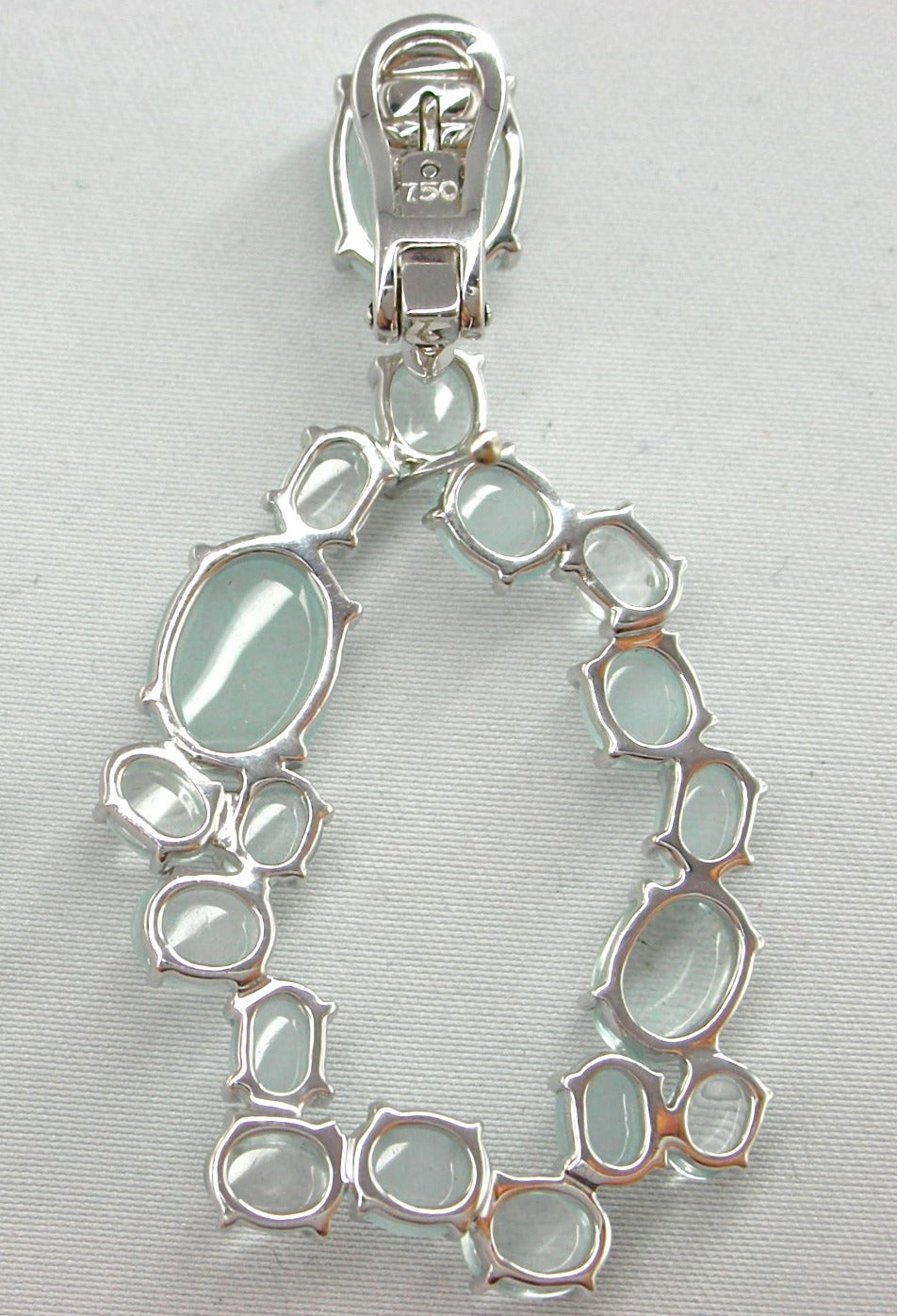 Cabochon Aquamarine Gold Oval Garland Drop Earrings 3