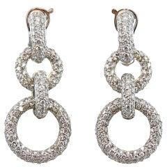 Jona White Diamond 18 Karat White Gold Dangling Ear Pendants