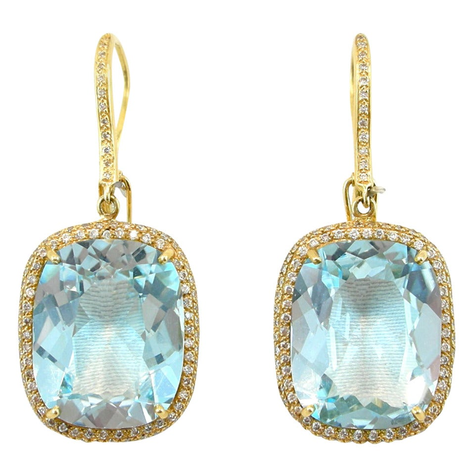 Jona Blue Topaz Diamond Yellow Gold Pendant Earrings