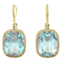 Jona Blue Topaz Diamond Yellow Gold Pendant Earrings