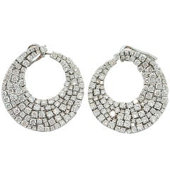 Jona White Diamond 18 Karat White Gold Swirl Clip-on Earrings
