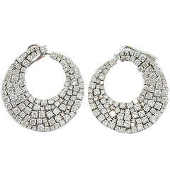 Jona White Diamond 18k White Gold Swirl Clip-on Earrings