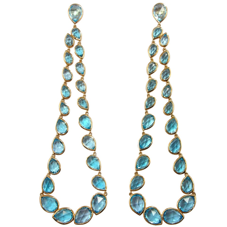 Jona Blue Topaz 18 Karat Rose Gold Articulated Dangle Earrings