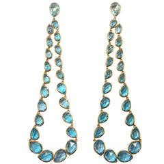 Jona Blue Topaz Gold Dangle Earrings
