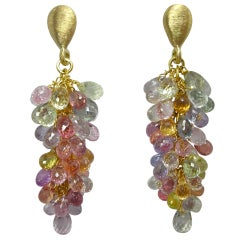 Jona Multi-Color Sapphire Cluster 18 Karat Gold Ear Pendants
