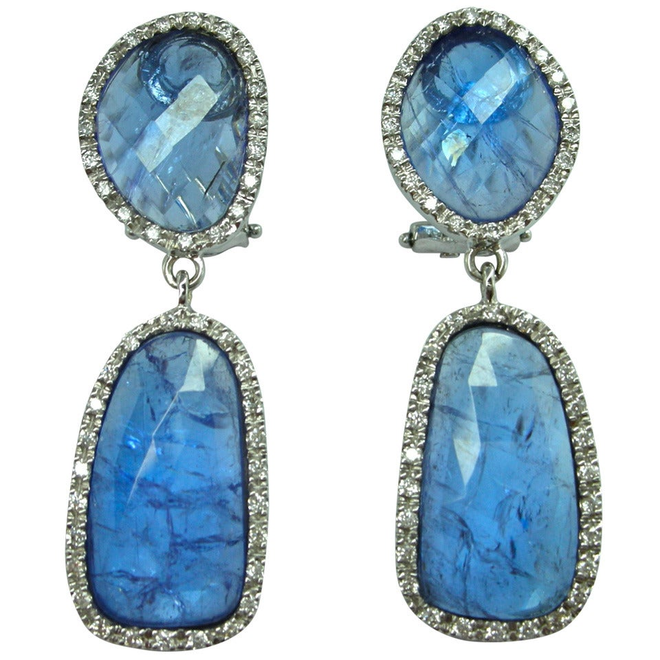 Jona Rose Cut Tanzanite Diamond Gold Drop Earrings