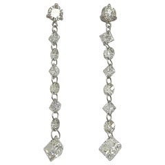 Jona White Floating Diamond Platinum Drop Earrings
