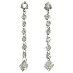 Jona Floating Diamond Platinum Drop Earrings