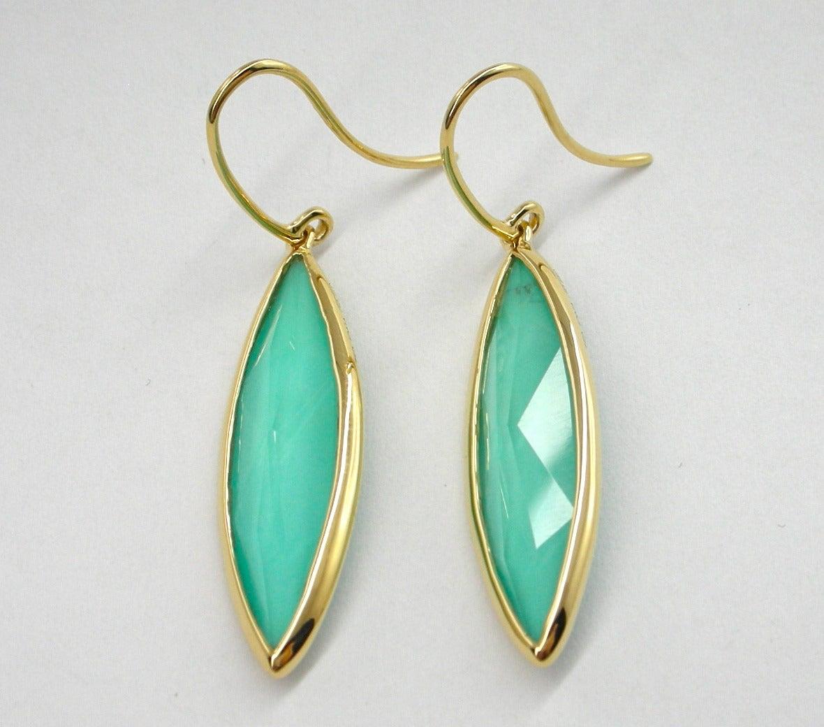 Jona Turquoise Quartz 18 Karat Yellow Gold Dangle Earrings In New Condition For Sale In Torino, IT