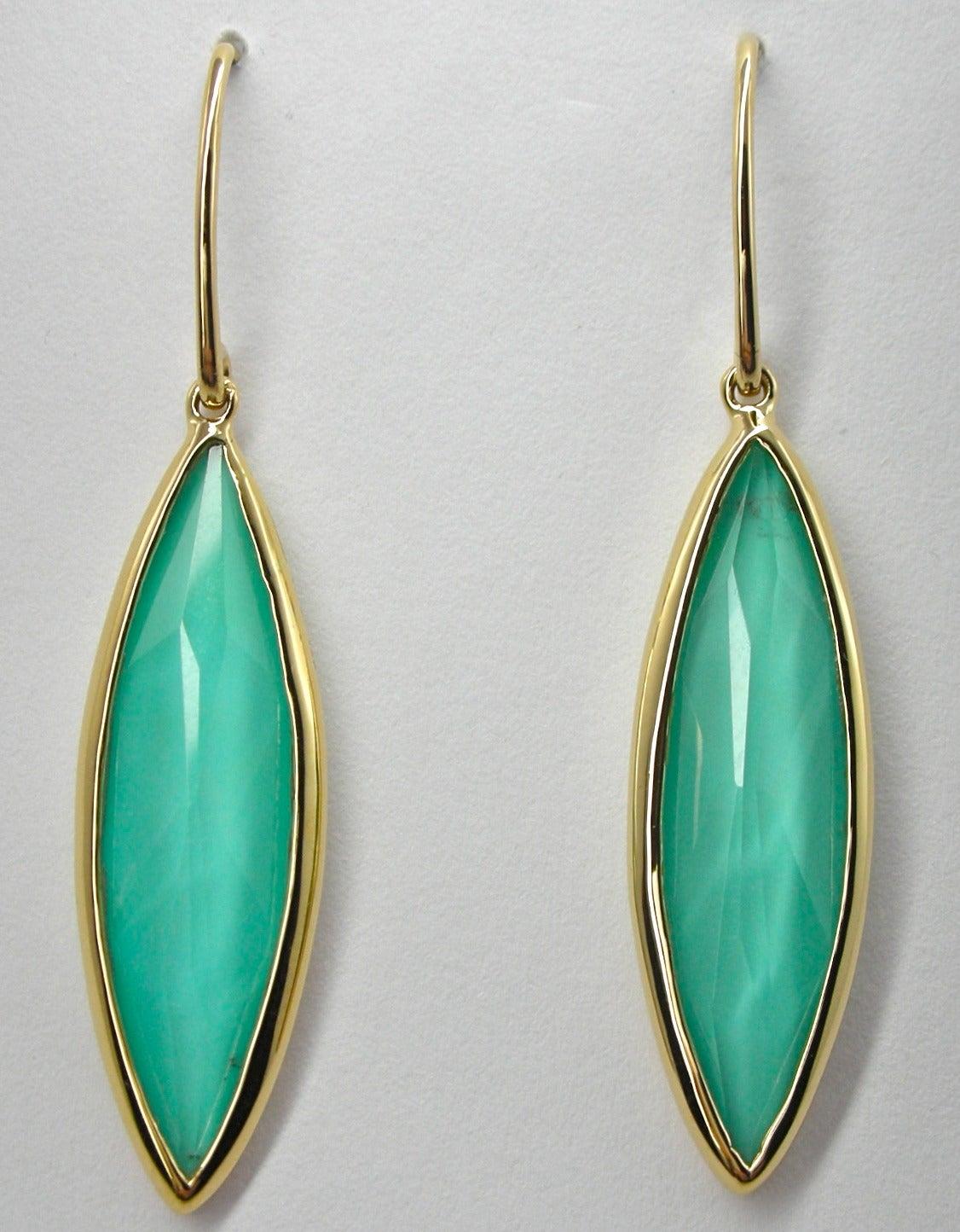Women's Jona Turquoise Quartz 18 Karat Yellow Gold Dangle Earrings For Sale