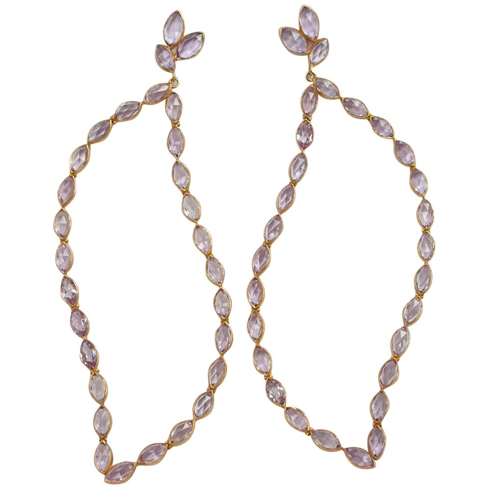 Jona Pink Amethyst 18k Rose Gold Dangle Earrings