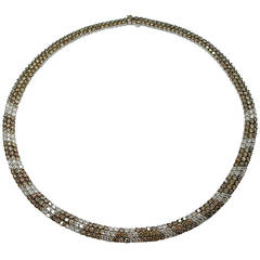 Jona White and Brown Diamond 18 Karat White Gold Collar Necklace