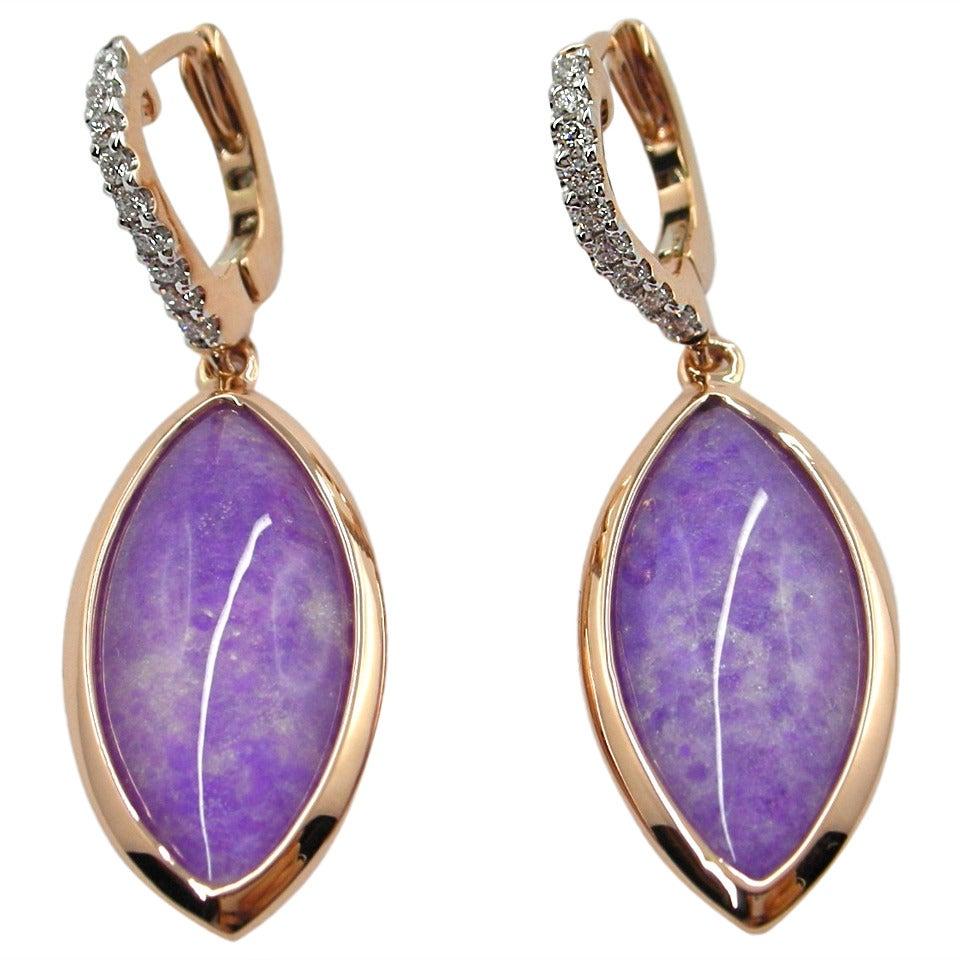 Jona Sugilite and Quartz Rose Gold Drop Earrings