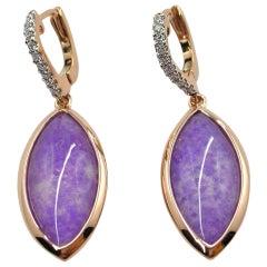 Jona Sugilite and Quartz 18 Karat Rose Gold Drop Earrings