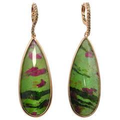 Jona Zoisite Quartz Brown Diamond 18 Karat Rose Gold Dangle Earrings