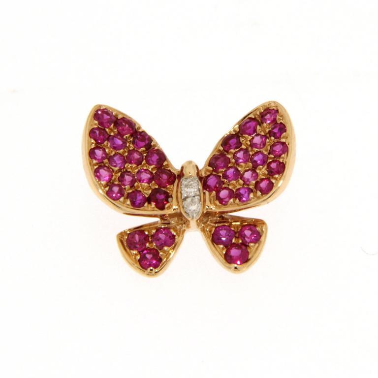 Women's Jona Pink Sapphire White Diamond 18 Karat Rose Gold Butterfly Pendant Necklace For Sale