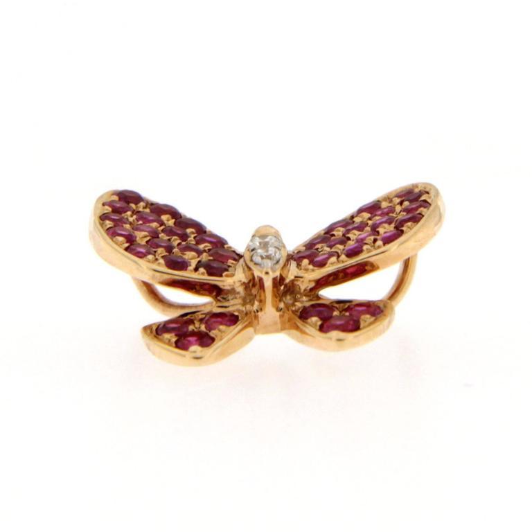 Jona Pink Sapphire White Diamond 18 Karat Rose Gold Butterfly Pendant Necklace For Sale 2