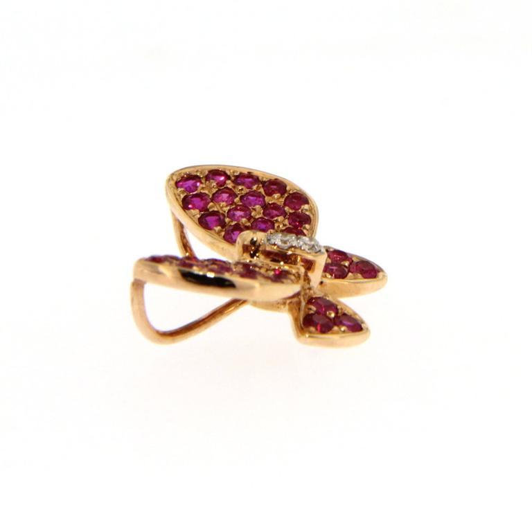 Jona Pink Sapphire White Diamond 18 Karat Rose Gold Butterfly Pendant Necklace For Sale 4