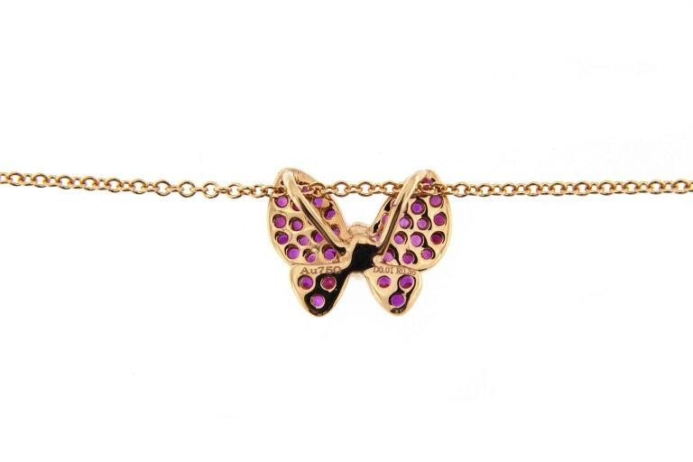 Jona Pink Sapphire White Diamond 18 Karat Rose Gold Butterfly Pendant Necklace For Sale 1