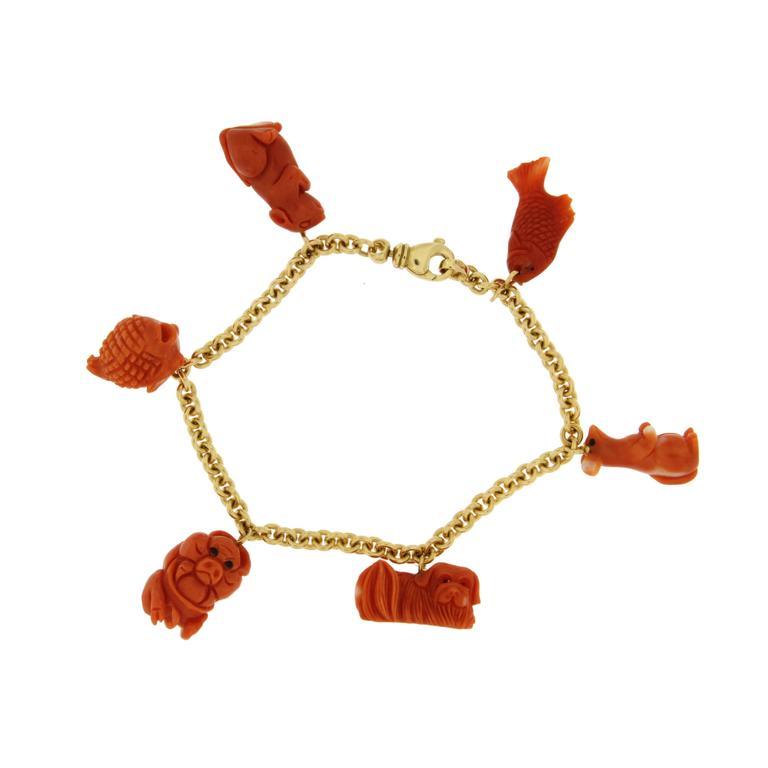 Jona 18 Karat Yellow Gold Coral Charm Bracelet