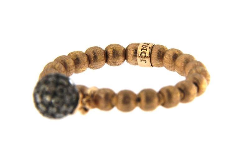 Women's Jona Brown Diamond Charm 18 Karat Rose Gold Flexible Ring For Sale