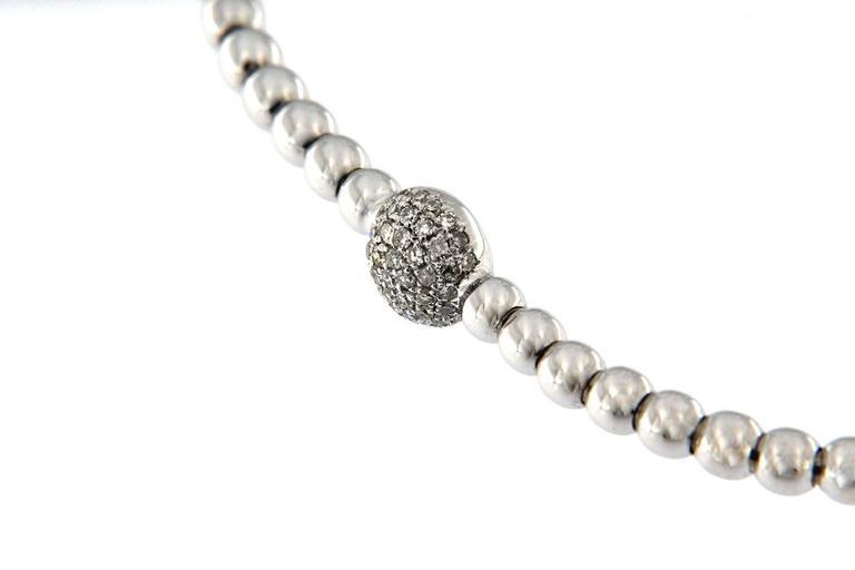Jona White Diamond 18 Karat White Gold Beaded Flexible Bracelet In New Condition For Sale In Torino, IT