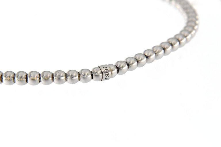 Women's Jona White Diamond 18 Karat White Gold Beaded Flexible Bracelet For Sale