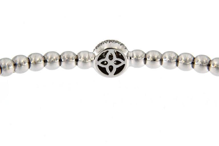 Jona White Diamond 18 Karat White Gold Beaded Flexible Bracelet For Sale 1