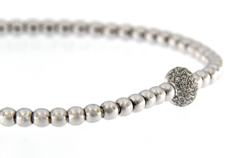Jona White Diamond 18 Karat White Gold Beaded Flexible Bracelet For Sale 2