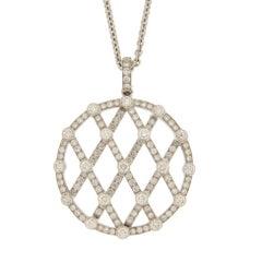 Jona White Diamond 18 Karat White Gold Treillage Pendant