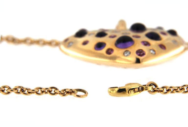 Jona Pink Sapphire Amethyst Diamond 18 karat Rose Gold Heart Pendant Necklace For Sale 2