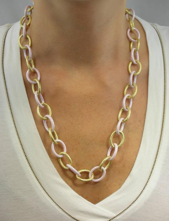 jona high tech pink ceramic gold link necklace at 1stdibs. Black Bedroom Furniture Sets. Home Design Ideas