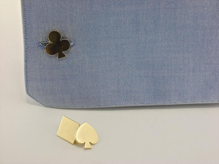 Jona 18 Karat Yellow Gold Card Suits Cufflinks In New Condition For Sale In Torino, IT