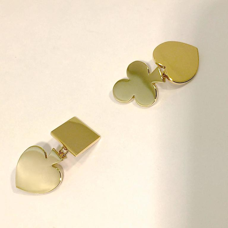 Men's Jona 18 Karat Yellow Gold Card Suits Cufflinks For Sale